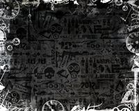 Creative monochrome clocks industrial frame dark background stock illustration