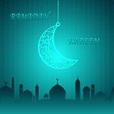 Creative Moon on Blue Theme Ramadan Kareem Background Royalty Free Stock Images