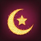 Creative moon and star for Eid Mubarak. Royalty Free Stock Image