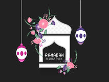 Creative mosque and lanterns for Ramadan Mubarak. Stock Image