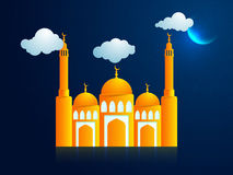 Creative Mosque in night for Islamic Festival. Royalty Free Stock Image