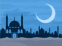 Creative Mosque in night for Islamic Festival. Stock Photos