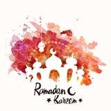 Creative mosque for Ramadan Kareem celebration. Islamic holy month of prayer, Ramadan Kareem celebration with creative mosque and lantern on floral color splash