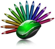 Creative mouse. Illustration with green and black mouse with 13 colored pencils Stock Image