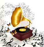 Creative music background with old gramophone, butterflies and n Stock Photos