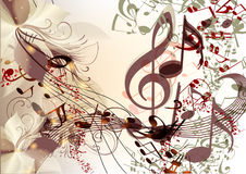 Creative music background in psychedelic style with notes Royalty Free Stock Photography
