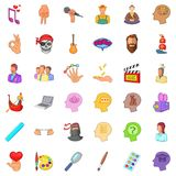 Creative music icons set, cartoon style Royalty Free Stock Image