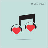 Creative music note sign icon and silhouette heart symbol . Love Royalty Free Stock Photos