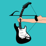 A creative musical background. Mimics a bow and arrow Royalty Free Stock Images
