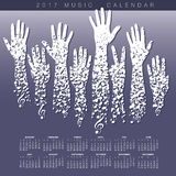 A creative 2017 musical calendar. Made with hands and notes Royalty Free Illustration