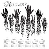 A creative 2017 musical calendar made with hands. And notes Stock Image