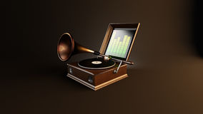 Creative musical gramophone. vector illustration