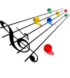 Creative Musical Notes. Color glass musical notes stock illustration