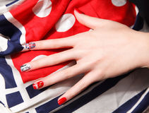 Creative nails with gel polish Stock Images
