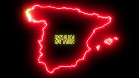 Creative neon map of Spain. Glowing shiny outline of Spanish country with text of SPAIN stock illustration
