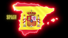 Creative neon map of Spain. Glowing shiny outline of Spanish country with text of SPAIN vector illustration