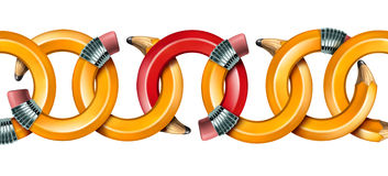 Creative Network. Concept with curved pencils as chain links linked together with a red pencil as the key link holding the team in solidarity isolated on a Stock Images