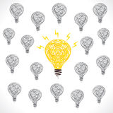 Creative new idea bulb glow background Stock Photo