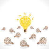 Creative new idea bulb glow background Royalty Free Stock Images