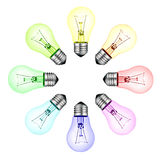 Creative New Ideas - Circle Of Colored Lightbulbs Royalty Free Stock Photography