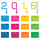 Creative New Year 2016 calendar design. Stock vector Royalty Free Stock Images