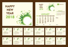 Creative new year 2018 calendar template design. Creative new year calendar 2018 template design using go green or eco friendly city concept Royalty Free Stock Photos