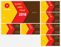 New year 2018 calendar template design. Creative new year calendar 2018 template design for office table Royalty Free Stock Photos