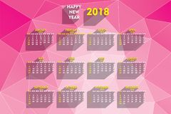 Creative new year 2018 calendar design. Creative new year 2018 calendar 2018 template design with triangular pattern royalty free illustration