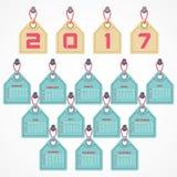 Creative New Year calender for 2017. Vector Illustration of Creative New Year calender for 2017 Royalty Free Stock Photos
