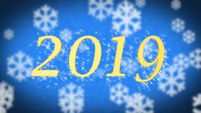 2019 creative new year celebration message on blue snowy background screensaver stock illustration