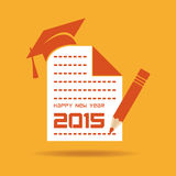 Creative New Year 2015 design with education concept Stock Images