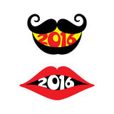 Creative new year 2016 greeting design. With moustache and lips Stock Photos