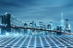 Creative New York wallpaper. Creative hexagonal nightNew York city bridge wallpaper. Urban concept royalty free stock images