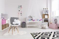 Creative nursery design. Shot of a creative spacious baby room Stock Image