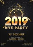 Creative 2019 NYE (New Year Eve) Party template or flyer design. With time and venue details for New Year celebration concept stock illustration