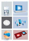 3D illustrated objects. 3D illustrated drinking glass, computer monitor, bowl of milk, screen with business people, egg with planet earth and 3D glasses Stock Photos