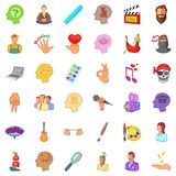 Creative occupancy icons set, cartoon style Royalty Free Stock Images