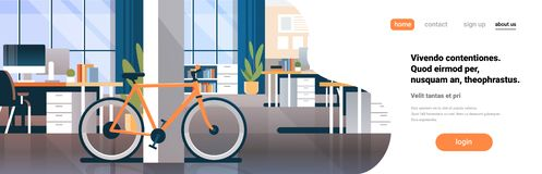 Creative office coworking center room interior modern workplace desk bicycle ecological transport horizontal flat copy. Space vector illustration royalty free illustration