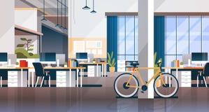 Creative office coworking center room interior modern workplace desk horizontal flat. Vector illustration royalty free illustration