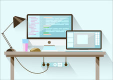 Creative office desktop workspace. Flat design. Stock Photo