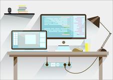 Creative office desktop workspace. Mock up. Royalty Free Stock Photography