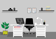 Creative office desktop workspace. Vector mock up Stock Photography