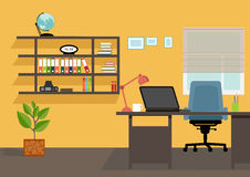Creative office desktop workspace. Yellow vector mock up Royalty Free Stock Images