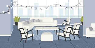 Creative office empty no people open space with furniture and christmas decoration lights co-working center interior. Flat horizontal vector illustration stock illustration
