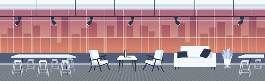 Creative office empty no people open space with furniture modern co-working center interior panoramic windows cityscape. Background flat horizontal banner stock illustration