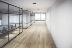 Creative office hallway. Interior with equipment, city view and daylight. 3D Rendering Stock Photos