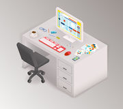 Creative office isometric workspace Royalty Free Stock Images