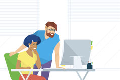 Creative office people working with computer stock illustration