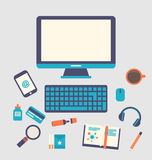 Creative office workspace, workplace of a designer, trendy flat Royalty Free Stock Photo