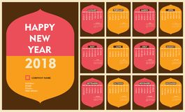Creative new year 2018 calendar template design. Creative old arc shape new year calendar 2018 template design Royalty Free Stock Photography